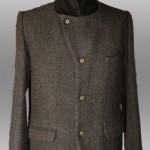 giacca marrone uomo in pura lana con bottoni asimettrici